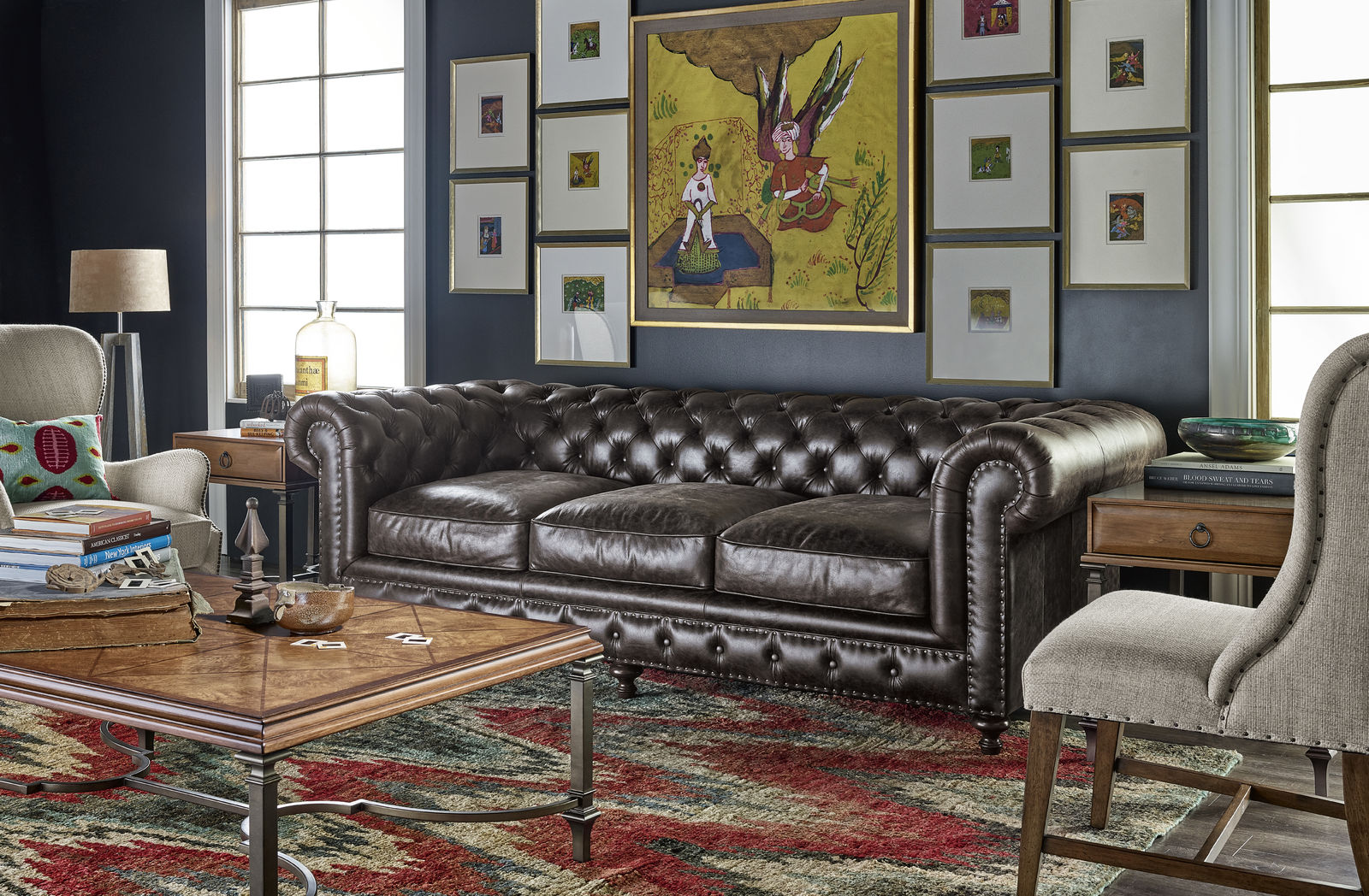Leather sofa and gallery art wall